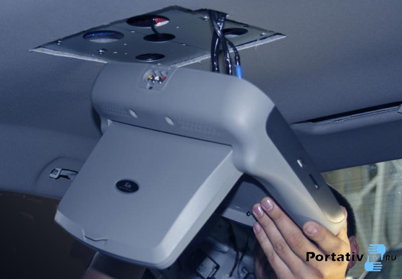 Как установить телевизор на потолок автомобиля своими руками 518